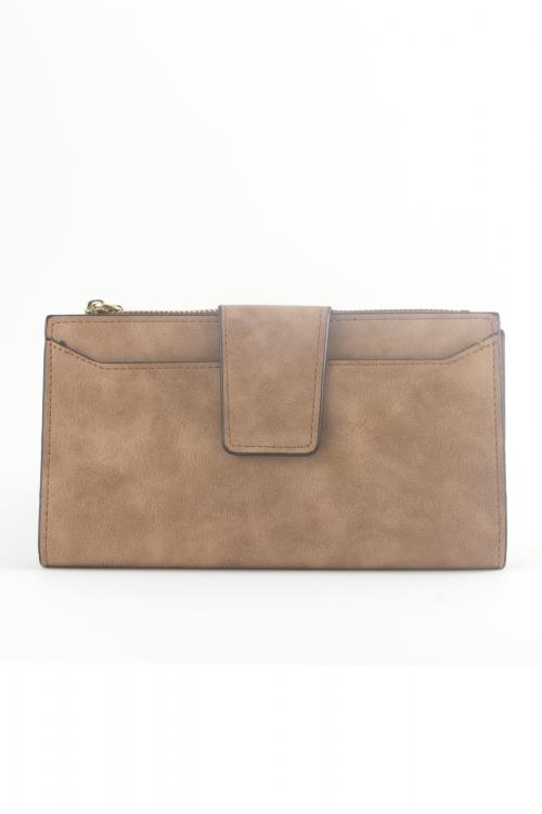 Компактно дамско портмоне в цвят  brown