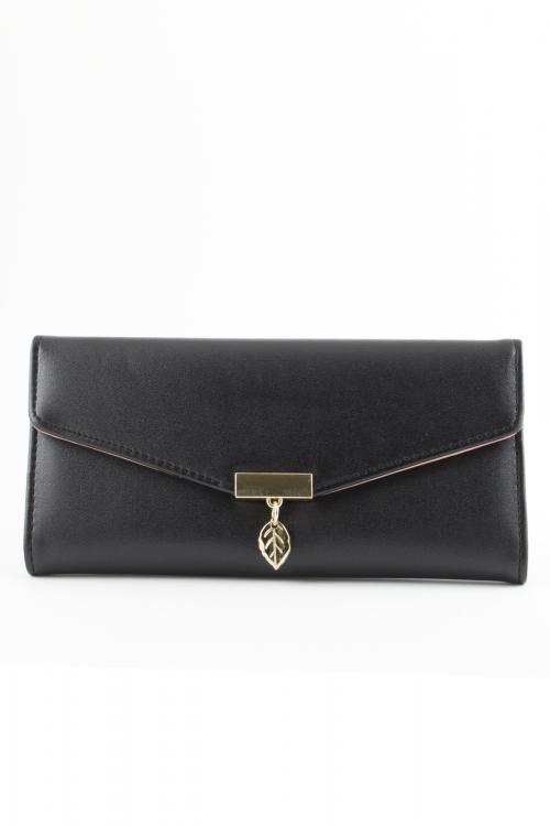 Дамско портмоне  black  с метално листенце