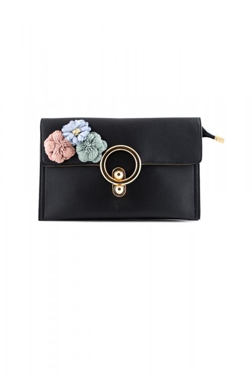 Елегантна малка дамска чанта в черен цвят