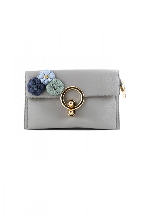 Елегантна малка дамска чанта в сив цвят