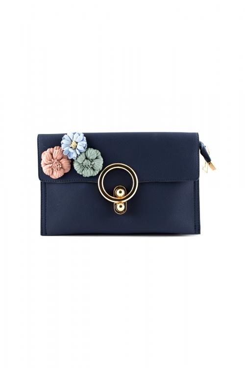 Елегантна малка дамска чанта в тъмно-син цвят